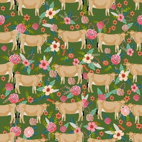 jersey cow floral fabric - feminine jersey cow fabric, jersey cow fabric, floral farm animals fabric, farm fabric - cute fabric -  green