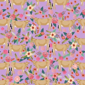 jersey cow floral fabric - feminine jersey cow fabric, jersey cow fabric, floral farm animals fabric, farm fabric - cute fabric - purple