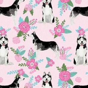 husky dog pink florals fabric, girls dog fabric, husky fabric kids, cute girls design - pink and teal