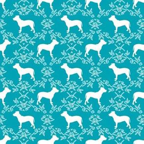 pitbull silhouette dog fabric - dog fabric, pitbull fabric, dog design, cute design, teal