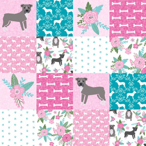 pitbull dog cheater quilt fabric - dog fabric, quilt fabric, grey pitbull fabric, - cheater quilt e