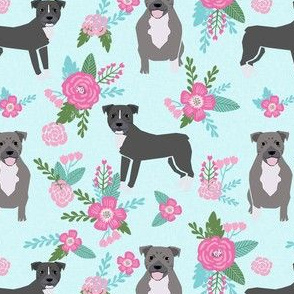 pitbull dog floral fabric - pitbull cheater quilt e, floral pink and teal fabric - aqua