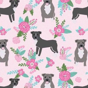 pitbull dog floral fabric - pitbull cheater quilt e, floral pink and teal fabric - pink