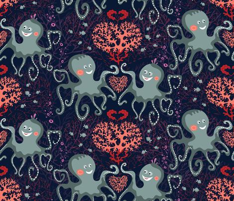 Be my underwater Valentine fabric by ringele on Spoonflower - custom fabric