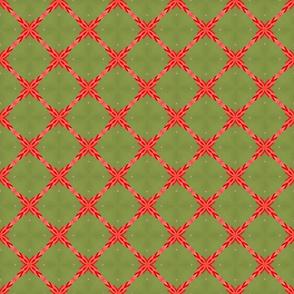 Sage Green and Orange Lattice Pattern