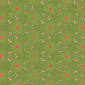 Sage Green with Orange Triangles and Peach Swirls