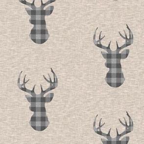 "3"" Deer Check - grey on tan"