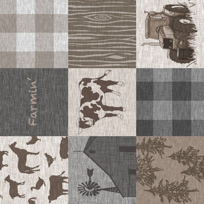 Cow Farmin Quilt - Soft Brown And grey - ROTATED