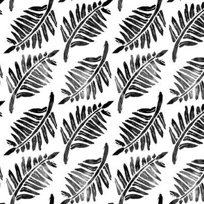 Fern grunge- Large Scale Black and White