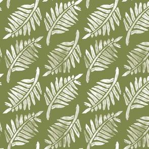 Fern Grunge, Linocut on Olive