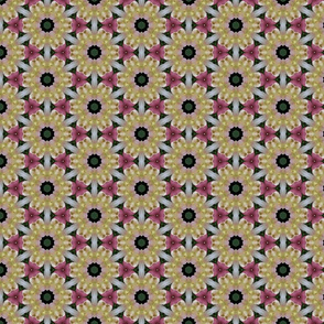 Gold and Cream Floral Pattern with Pink