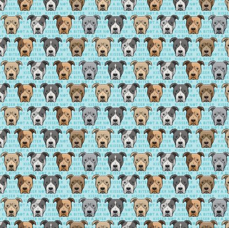 (small scale) kisser not a biter - pit bulls on blue C18BS fabric by littlearrowdesign on Spoonflower - custom fabric
