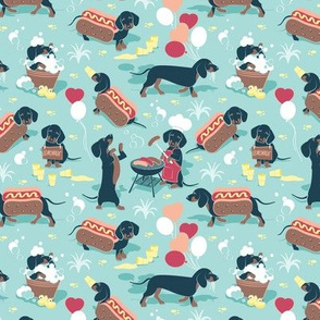 Hot dogs and lemonade // tiny scale // aqua background Dachshund sausage dogs