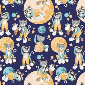 Cats, pandas and unicorns 2 // tiny scale // navy background