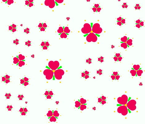 Red Hearts and Flowers  fabric by twigsandblossoms on Spoonflower - custom fabric