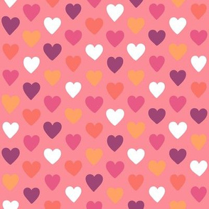Small Pink and Living Coral Hearts