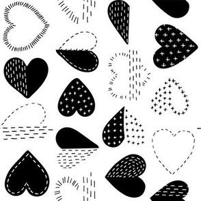 Black and White Boro Heart / Small Scale