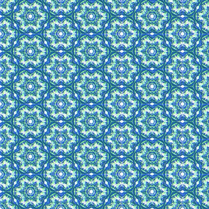 Vintage Blue and Green Circle Pattern