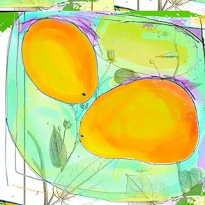2 mangos on plate (white)