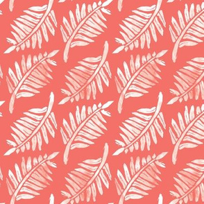 Fern grunge linocut on coral