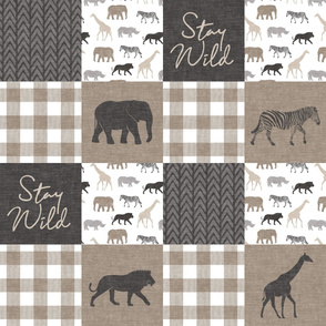 Stay Wild - Safari Wholecloth - Neutrals w/ plaid