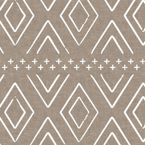 Safari Wholecloth Diamonds on brown - farmhouse diamonds - mud cloth fabric