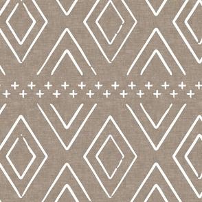 Safari Wholecloth Diamonds on brown - farmhouse diamonds - mud cloth fabric