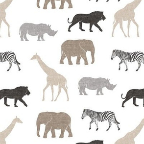 Safari animals - neutrals - elephant, giraffe, rhino, zebra