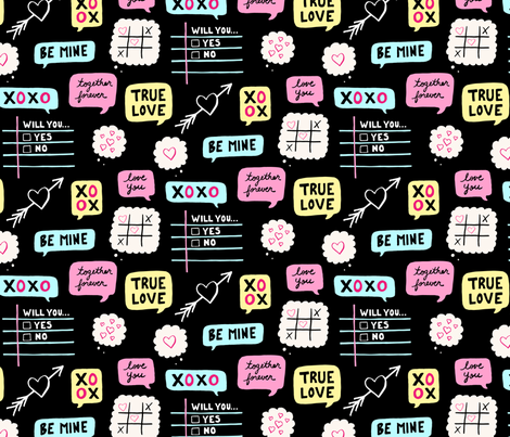 Chalkboard Valentine fabric by okay_okay_design on Spoonflower - custom fabric