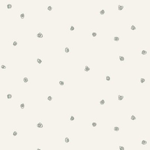 Sage green dots on bone