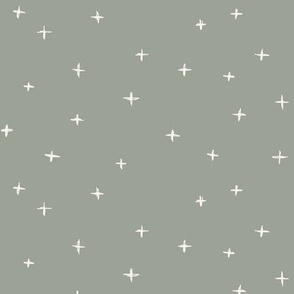 Sketched x swiss crosses // Bone on sage green background