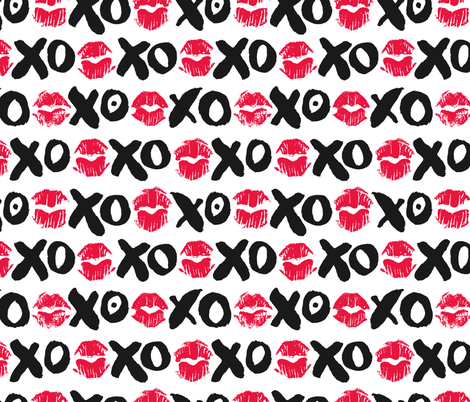 XOXO and Lipstick Kisses fabric by anastasiia_macaluso on Spoonflower - custom fabric