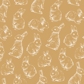 Sketched White Rabbits || Mustard Gold background