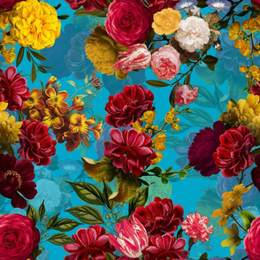"""18"""" Pierre-Joseph Redouté- Redouté fabric,Roses fabric-Redoute roses-Moody Florals by UtART - Mystic Night 15"""