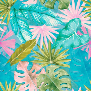 "18"" Bohemian  Hand Drawn Tropical Pink and Teal Jungle Garden"