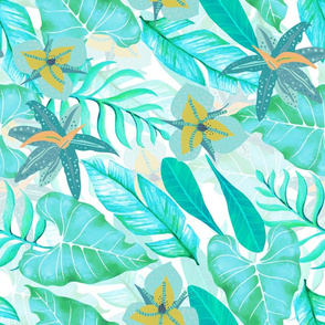 "18"" Bohemian  Hand Drawn Tropical Teal Jungle Garden"