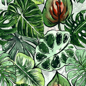 "18"" Bohemian  Hand Drawn Green and Red Tropical Green Jungle Garden"