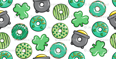 """(1"""" scale) Saint Patricks Day Donuts - green on white C18BS"""