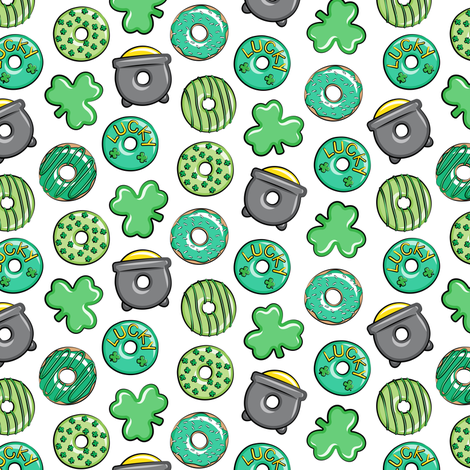 """(1"""" scale) Saint Patricks Day Donuts - green on white C18BS fabric by littlearrowdesign on Spoonflower - custom fabric"""