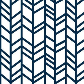 Herringbone- White/Navy - chevron
