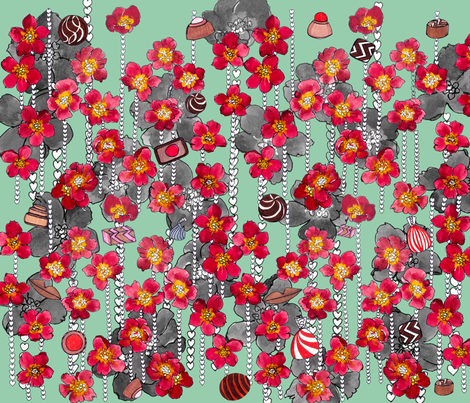 string-of-hearts-and-chocolates fabric by florodoro on Spoonflower - custom fabric