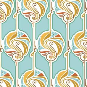 Twenties style pin swirls