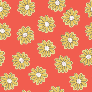 Yellow doodle daisies