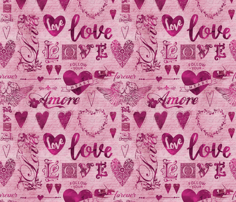 Love And Hearts fabric by andrea_haase_design on Spoonflower - custom fabric
