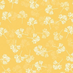 Poppy Leaves on Yellow