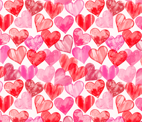 Painted Hearts fabric by j9design on Spoonflower - custom fabric