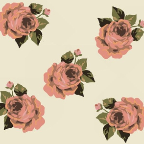 Vintage roses on cream - large