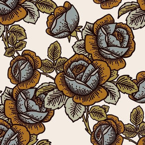 Vintage roses in blue, ochre and sage