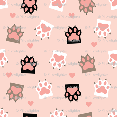 cat paws and hearts seamless pattern