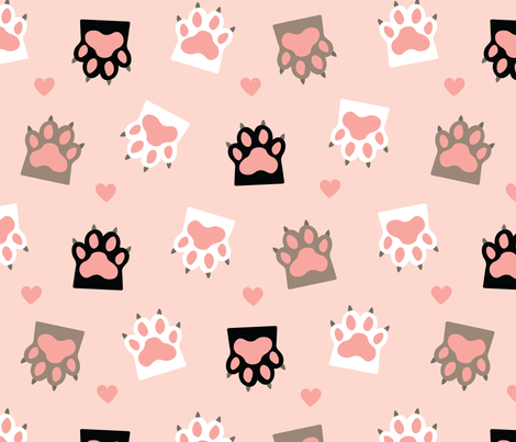cat paws and hearts seamless pattern fabric by pillowfighter on Spoonflower - custom fabric